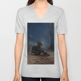 Depressing Lonely Backpack Girl Solo Forest Ground Rainy Day Ultra HD Unisex V-Neck