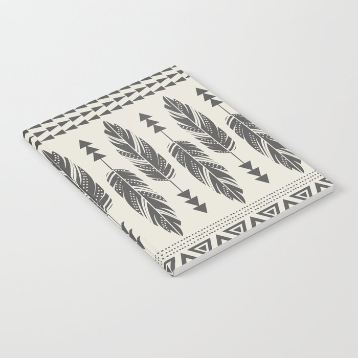 Tribal Feathers-Black & Cream Notebook
