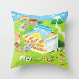 Milk Carton dessert store Throw Pillow
