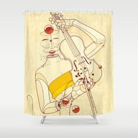 violin Shower Curtains featuring Violin Bubbles by Guilherme Marconi