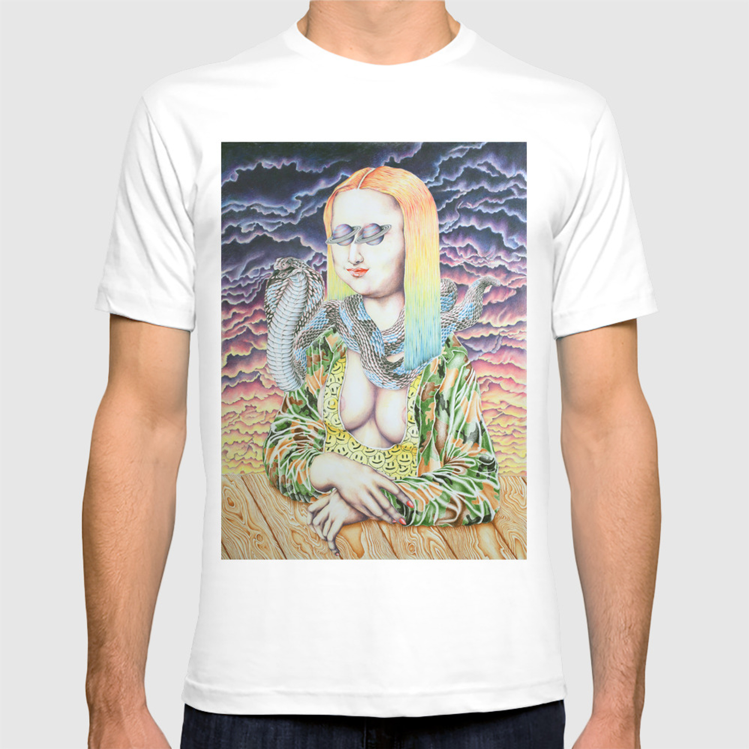 ff43121ff466 Mona Lisa and the Love Snake Live to Party T-shirt by cahillwessel    Society6