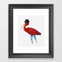 Red Bird with Hat Framed Art Print