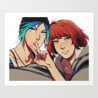 selfie Art Prints featuring Selfie by blue