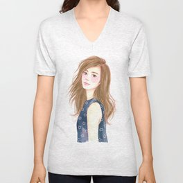 Be a star - watercolor art, girl drawing, girl portrait Unisex V-Neck