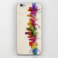 kansas city iPhone & iPod Skins featuring Kansas City Skyline by artPause
