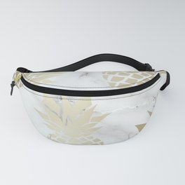 Pineapple Art with Marble, White and Gold Fanny Pack