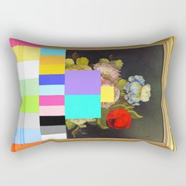 A Painting of Flowers With Color Bars Rectangular Pillow