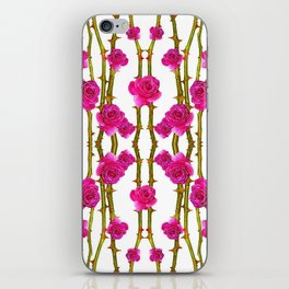 "FUCHSIA PINK ""ROSES & THORNS"" WHITE ART iPhone Skin"