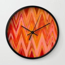 Coral geometric tribal aztec chevron zig zag stripes ikat pattern andes zigzag hipster print Wall Clock