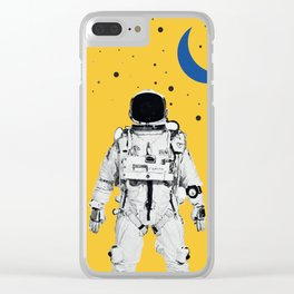 Astronaut Portrait on a Yellow Background Clear iPhone Case