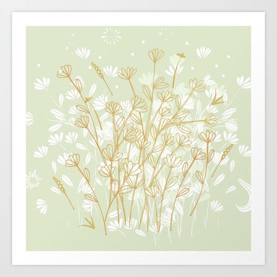Coockie brown clover on green  Art Print