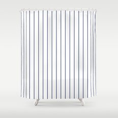 Classic Blue Baseball Stripe Lines On White Shower Curtain