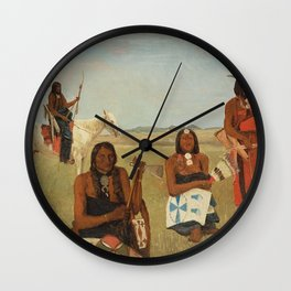 Albert Bierstadt - Indians near Fort Laramie Wall Clock