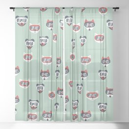 Christmas woodland animals in goggles fox bear and cats kids winter pattern mint Sheer Curtain
