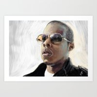 jay z Art Prints featuring Jay-Z by Thomas Bryant