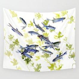 Fish Blue green fish design zebra fish, Danio aquarium Aquatic design underwater scene Wall Tapestry