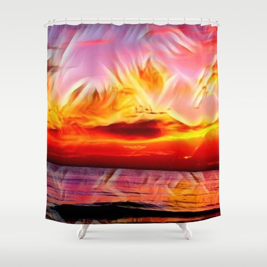 Sky on Fire (Sunset over Great Lake Michigan Beach) Shower Curtain