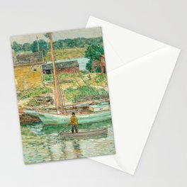 Oyster Sloop, Cos Cob 1902 by Childe Hassam Stationery Cards