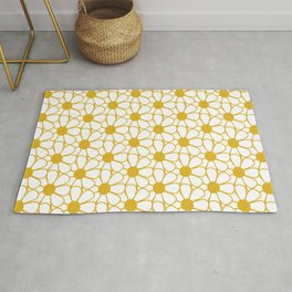 Polka Dot Daisies - Cheerful Retro Geometric Floral Pattern in Mustard and White Rug