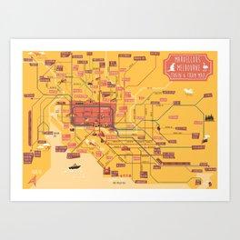 Melbourne Rail Map Art Print