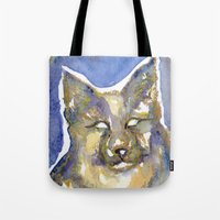 copper Tote Bags featuring Copper by Bootsies Watercolor Kittys