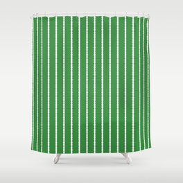 Holiday Hexies Green Stripe Shower Curtain