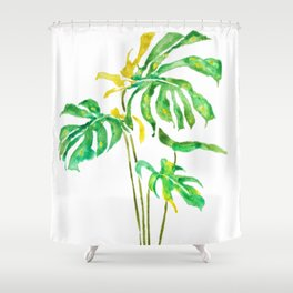 green and yellow leaf watercolor Shower Curtain