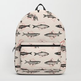 Fishes In Geometrics (Red) Backpack