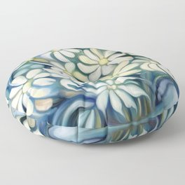 """Retro Vintage Bouquet of White and Blue Flowers"" Floor Pillow"
