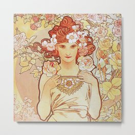 Rose by Alphonse Mucha 1897 // Vintage Girl with Red Hair Floral Love Design Metal Print