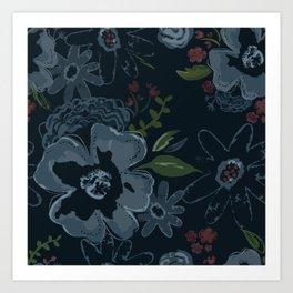 Moody Blues Floral Pattern Art Print