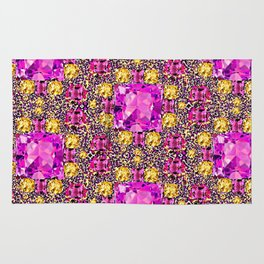 BEAUTIFUL FACETED PINK SAPPHIRES & CITRINES GEMS ART Rug