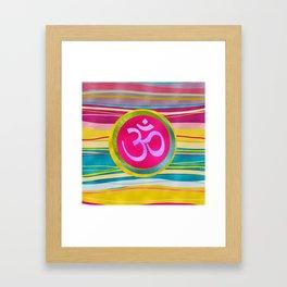 Colorfull Glitter OM symbol on  Pattern Framed Art Print