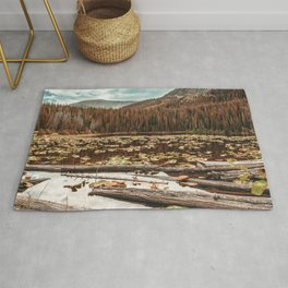 Rustic Lake // Autumn Filter Lilly Pond Green Leaves Logs and Natural Mountain Woodland Rug
