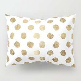 Luxurious faux gold leaf polka dots brushstrokes Pillow Sham