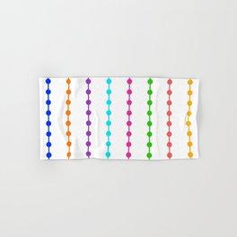 Geometric Droplets Pattern - Rainbow Colors on White Hand & Bath Towel
