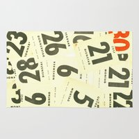 calendar Area & Throw Rugs featuring CLOSEUPS - Calendar Sheets by Cordula Kerlikowski