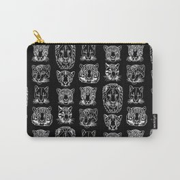 Kickass Kitties - white on black Carry-All Pouch