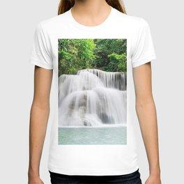 beautiful waterfall rainforest jungle Kanchanaburi Thailand Erawan Waterfall T-shirt