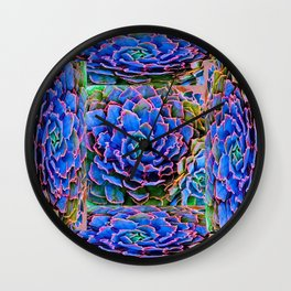 ORNATE BLUE-PINK SUCCULENT ART Wall Clock