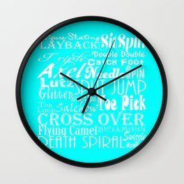 Turquoise Figure Skating Subway Style Typographic Design Wall Clock
