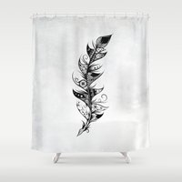 feather Shower Curtains featuring Feather by LouJah
