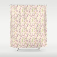 indie Shower Curtains featuring Indie Button Fern by Leda Chung