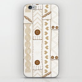 Scarves Knitted Buttoned - Beige iPhone Skin