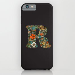 Hippie Floral Letter R iPhone Case