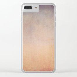 Beige, blue, brown gradient ode to spring background Clear iPhone Case