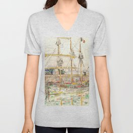"Paul Signac ""Docks at Saint Malo"" Unisex V-Neck"