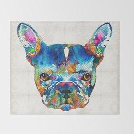 Colorful French Bulldog Dog Art By Sharon Cummings Throw Blanket