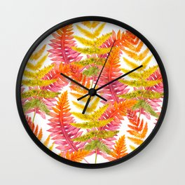 Hand painted pink orange watercolor fall fern floral Wall Clock