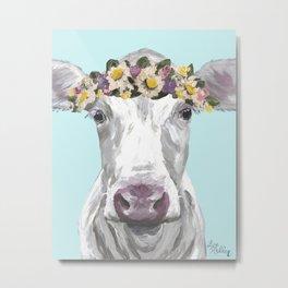 Cute Cow Up Close, Flower Crown Cow Metal Print